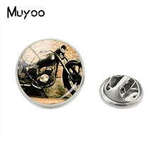 2018 Hot Fashion Gaya Kerah Pin Vintage Motorbicycle Gambar Seni Kaca Bulat Cabochon Foto Kupu-kupu Bros Pin(China)