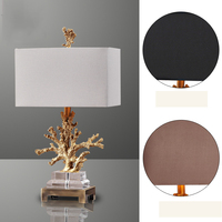 Luxury Gold Coral Table Lamp Living Room Mediterranean Bedroom Bedside Table Lights 3 Fabric Lampshade Optional Home Lighting
