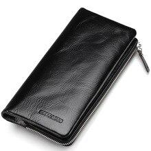 2018 neue erste Schicht aus echtem Leder Brieftasche Männer Öl Wachs Retro Reißverschluss Geldbörse Multi-Card Bit lange Brieftasche Kupplung echte Carteira
