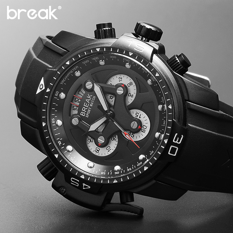 Break Chronograph Sport Watch For Men Big Dial Date Mens Watches Top Brand Luxury Luminous Watch Clock Male Relogio Masculino