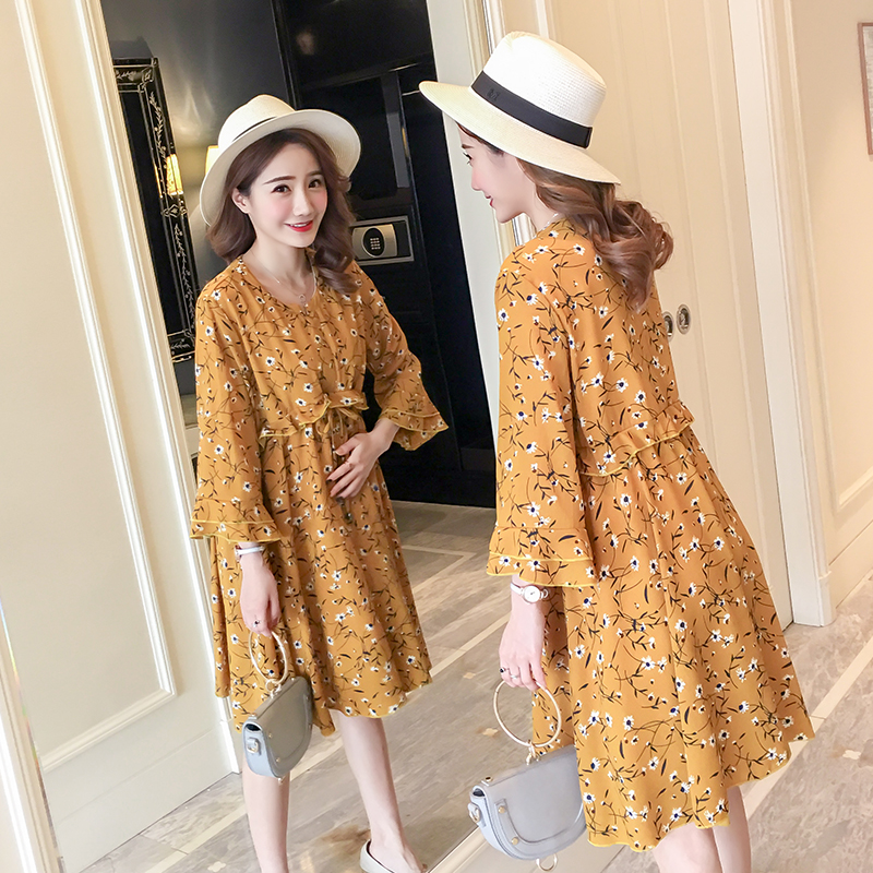 Floral Maternity Clothing Cute Pregnancy Dress Fashion Long Sleeve Maternity Clothes For Pregnant Women Spring 2018