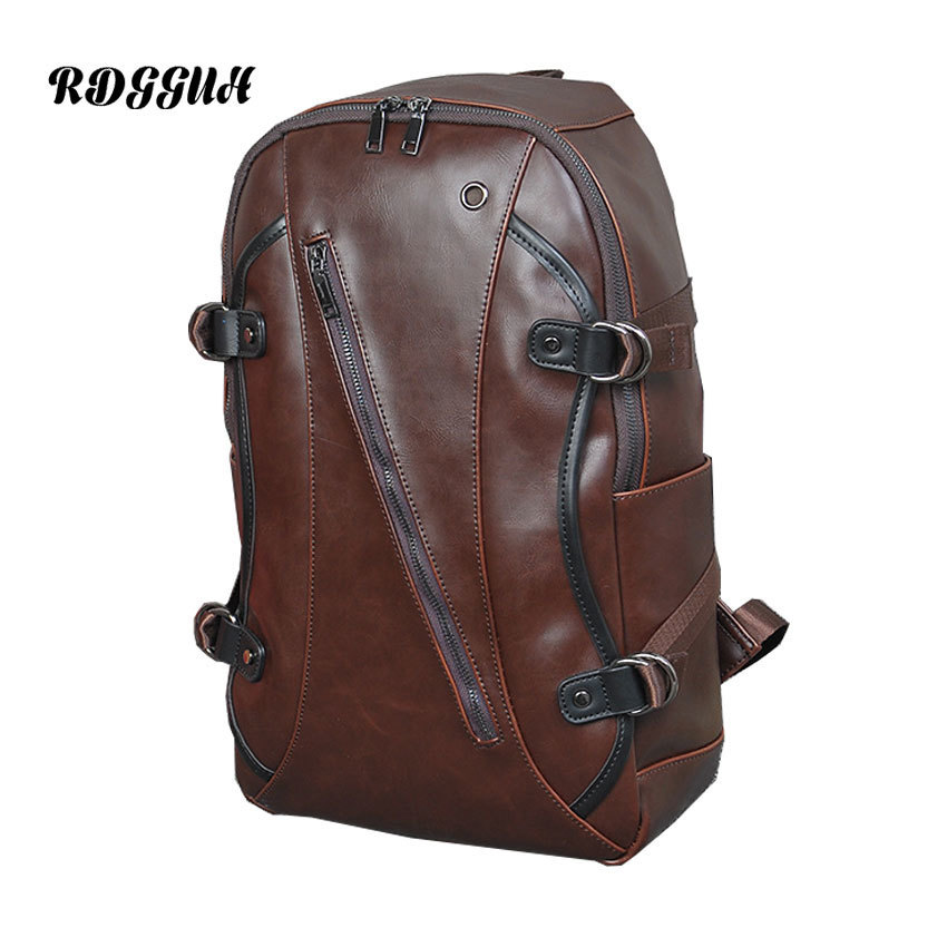 RDGGUH Male Fashion Backpack Male Travel Backpack Mochilas Mens Crazy Horse Skin Leather Business Bag Large Laptop Shopping Bag male classic microfiber leather backpack
