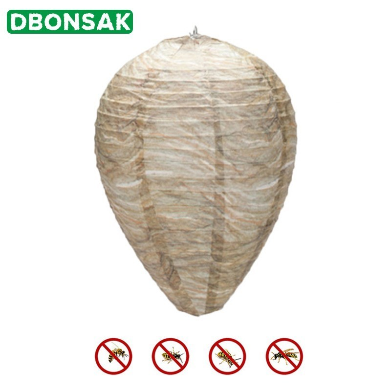 5 Pcs Hanging Wasp Bee Trap Fly Insect Simulated Wasp Nest Safe Non-Toxic Hanging Wasp Deterrent For Wasps Hornets