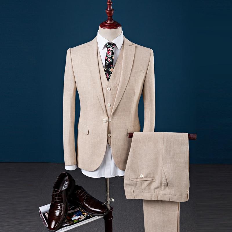 (Пиджак + брюки + жилет) для мужчин хлопок и льняной костюм Slim Fit Мода Досуг торжественное платье костюмы человек Бизнес блейзеры костюмы Для ...