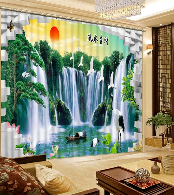 Blackout 3d Curtains For The Bedroom Waterfall Landscape Luxury Curtains  For Living Room Glass Beads Curtains