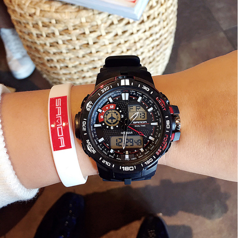 SANDA Sport Watches Digital Waterproof Fashion Women Luxury Brand LED for Outdoor