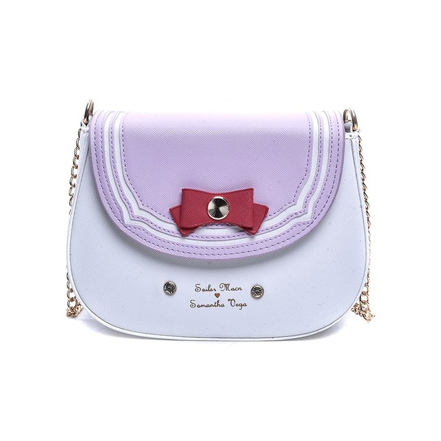 Famous Brand Samantha Vega Sailor Moon Bag Casual Cover Women Shoulder Bags  with Cute Bow Designer Chain Crossbody Bag for Women-in Shoulder Bags from  ... 90a06e2d959a5