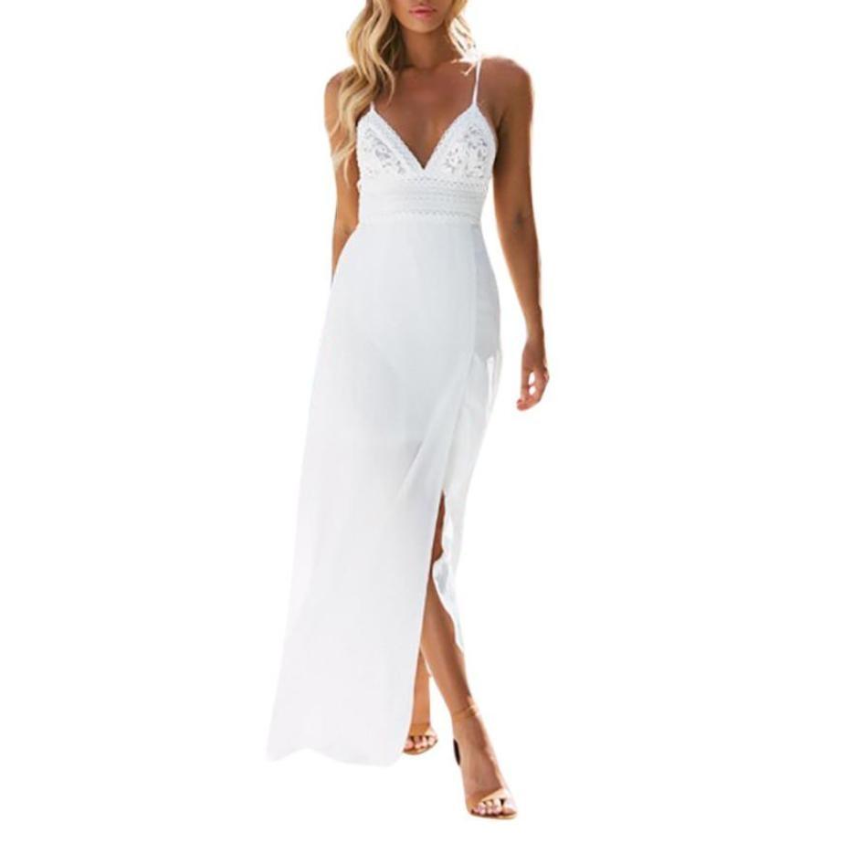 Women Chiffon White Dress V Neck Split The Fork Lace Long Dresses Sexy Bandage Back Beach Maxi Dress #BF