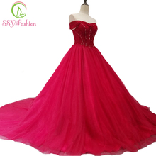 SSYFashion New Luxury Red Evening Dress High-end Banquet