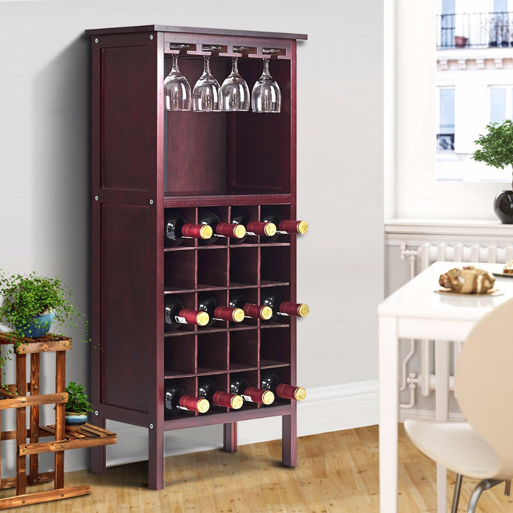 Us 66 99 Goplus Wood Wine Cabinet Retro Burgundy 20 Bottles Holder Storage Kitchen Home Bar Whisky Rack Holders With Glass Rack Hw51149 In Wine