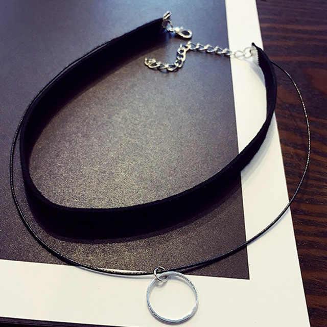 Multilayer Chokers Kalung untuk Wanita Lingkaran Segitiga Geometris Liontin Kalung Collares Fashion Perhiasan Bijoux Colar