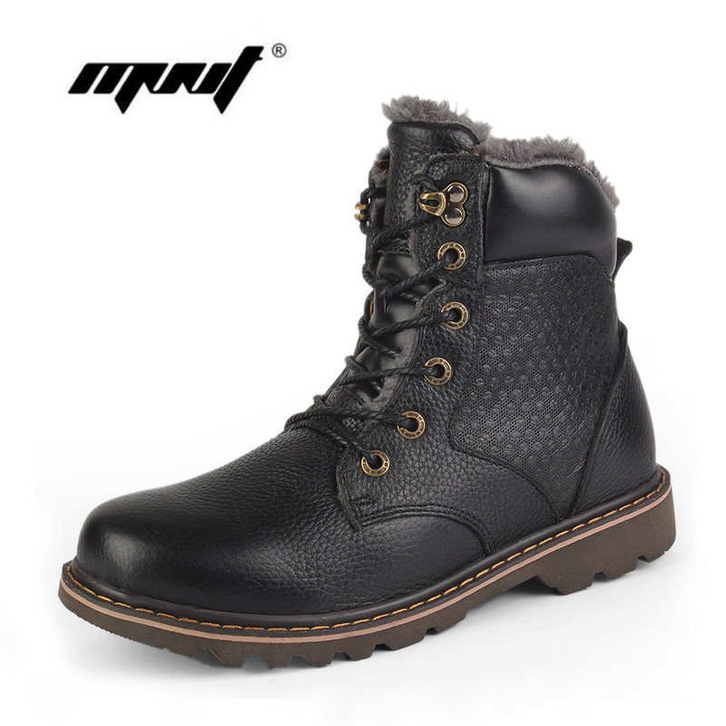 Fashion full grain leather men boots super warm men winter shoes handmade plus size waterproof snow