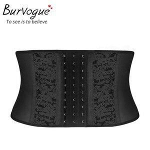 Image 1 - Burvogue corset modelador de cintura, espartilho modelador de osso de aço 9 para cintura, de látex, plus size 6xl