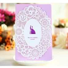 30 Pieces pack Paper Crafts Picrced Flower Design Personalized Customized Printing Romantic Wedding Invitations Cards