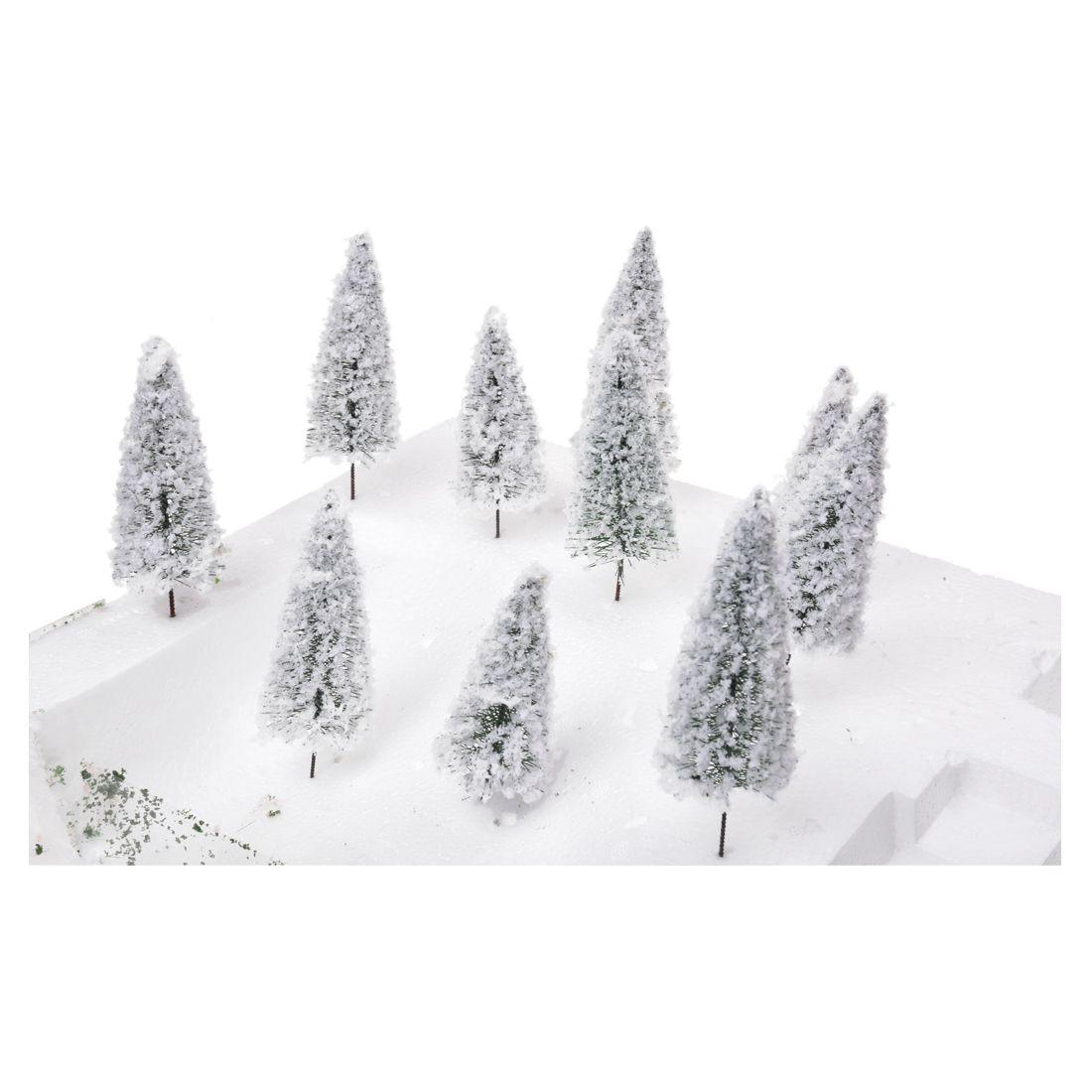 10 pack White Landscape Model Cedar Trees 10 cm