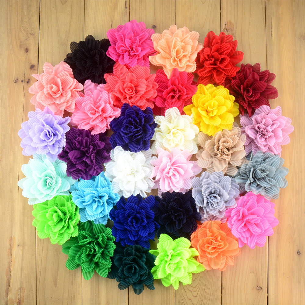 60 pcs lot 10 cm Shabby Chiffon Flower For Hair Headband Hair Accessories