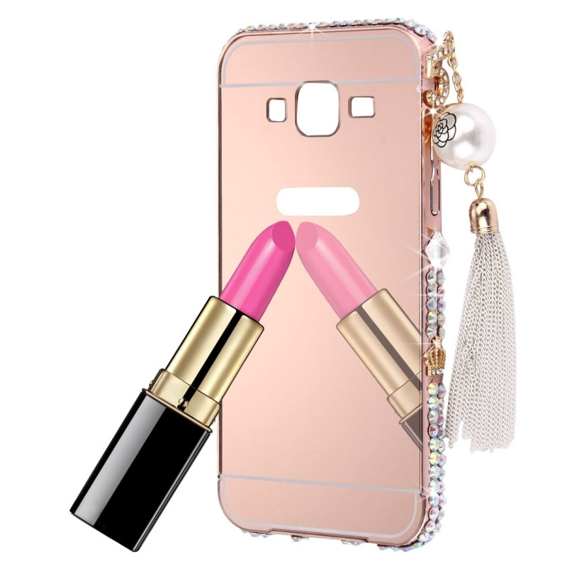 Diamond Bling Pearl For Samsung Galaxy On5 G550 Core Prime G360 G530 A8 A7 A5 A3 E7 E5 J7 Phone Case Plating Frame Mirror Cases