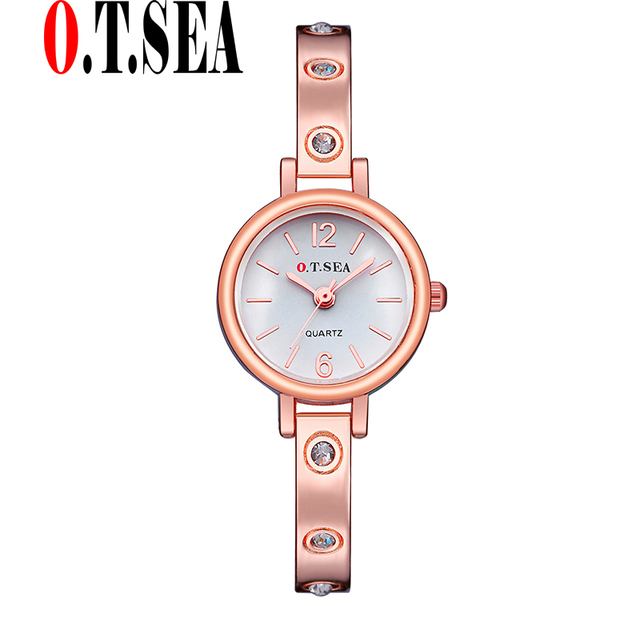 Hot Sales O.T.SEA Brand Rose Gold Bracelet Watch Women Ladies Crystal Dress Quar