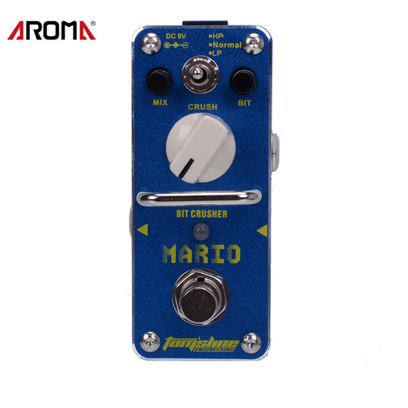 AROMA AMO-3 Mario Bit Crusher Electric Guitar Effect Pedal Mini Single Effect with True Bypass amo 3 mario bit crusher electric guitar effect pedal aroma mini digital pedals full metal shell with true bypass