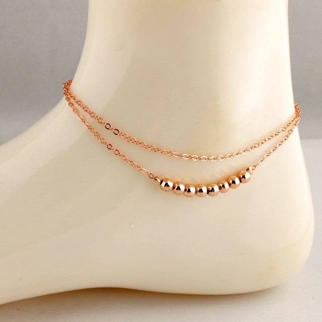 7e567d81022 New Fashion women Summer ankle bracelet rose gold plated bead Bilayer anklets  chain leg bracelets barefoot sandals foot jewelry