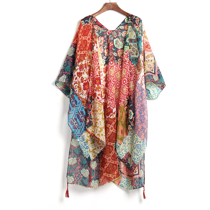 New Arrivals Beach Caftan Swimsuit Cover up Print Chiffon Pareo Women Robe Plage Swimwear Dress Sexy Sarong Beach Tunic Cover Up цена