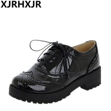 XJRHXJR New 2019 Spring Round Toe Brogue Oxford Shoes For Women Plus Size 34-43 Carved Lace Up Oxfords Woman Sapatos