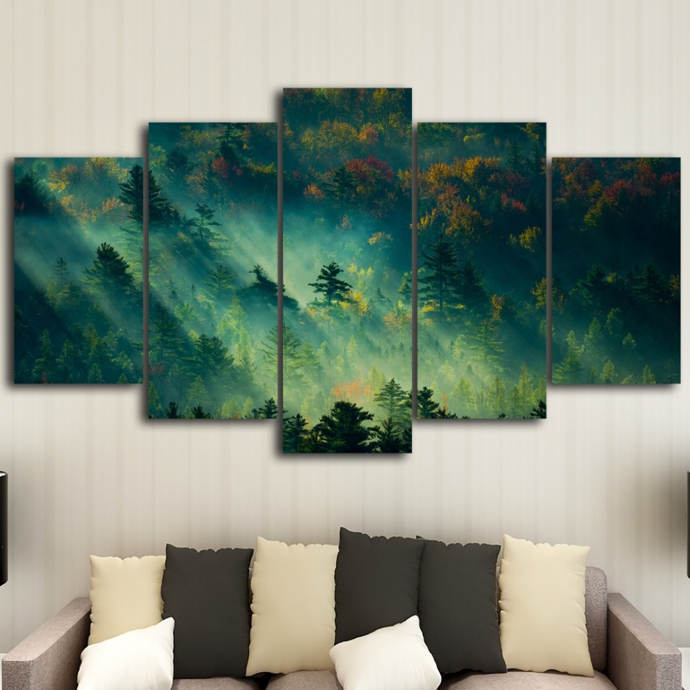 5 pieces of HD printing forest custom printed canvas painting poster picture mural art free shipping