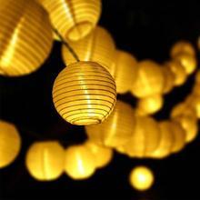 цена на 20/30 Led Solar Night Light Lantern String Lamp Wedding Cloth Party Fairy Led Solar Yard Garland String Lights Lantern Ball Deco