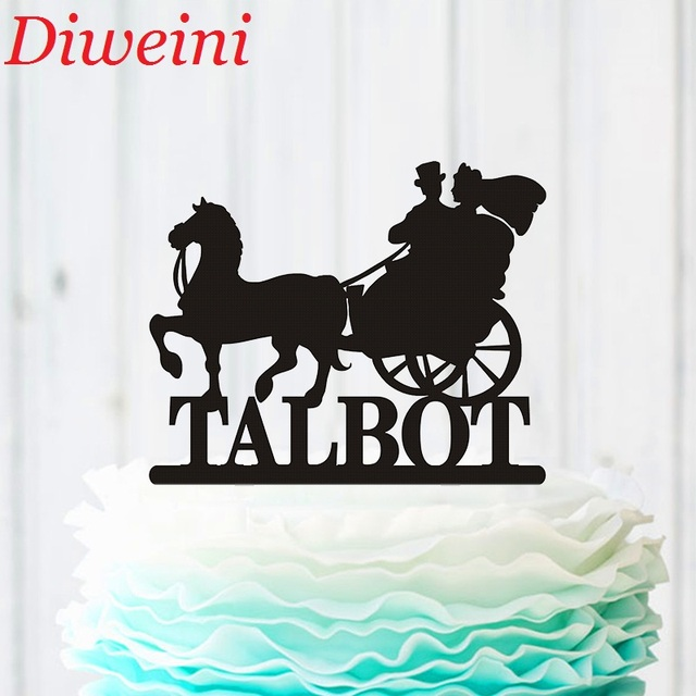 Bride And Groom With Horse Wedding Cake Topper Personalized Drawn Carriage Silhouette