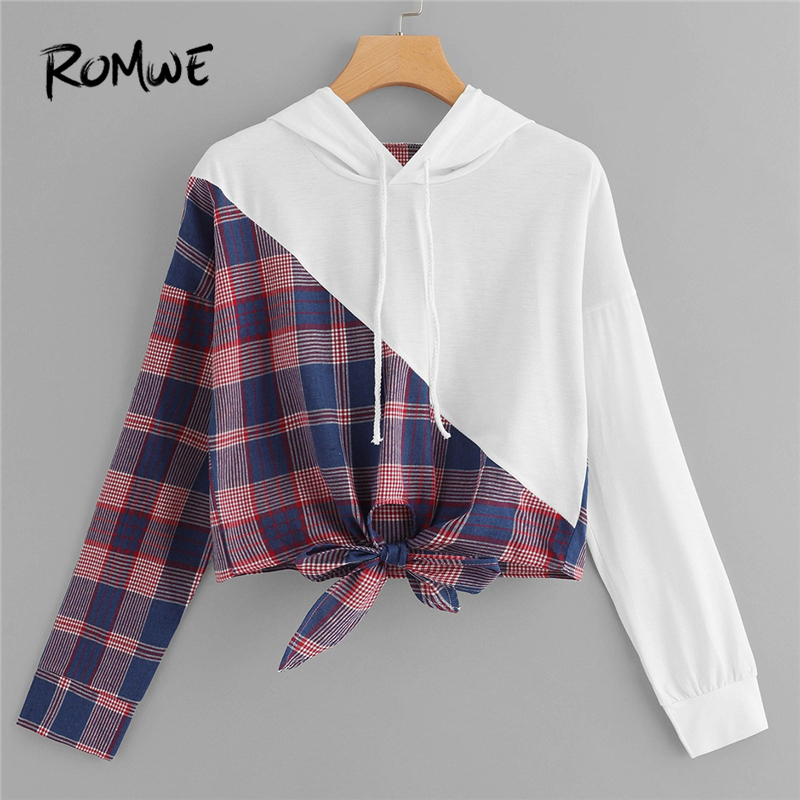 ROMWE Knot Front Plaid Hooded Sweatshirt Women Clothes 2019 Autumn Fashion Casual Long Sleeve Clothing Womens Hoodie Pullovers