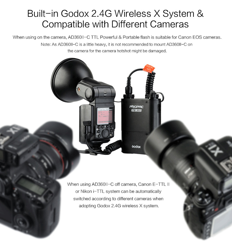Godox-AD360II-C-TTL-On-Off-Camera-Flash-Speedlite-2-4G-Wireless-X-System-for-Canon