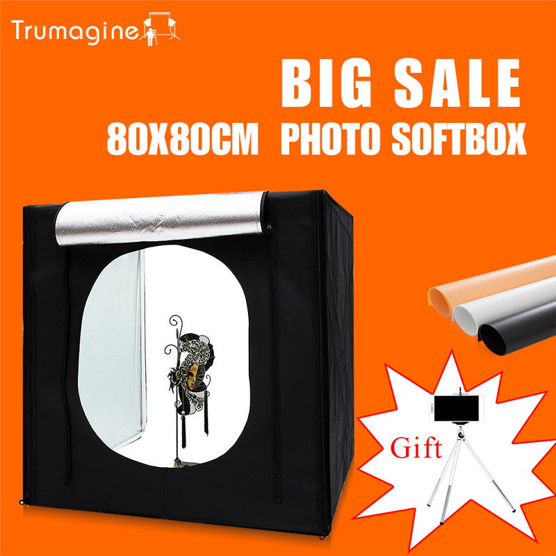 TRUMAGINE 80*80*80CM Photo Studio Softbox Light Tent Lightbox Photography Shooting Light Box With Portable Bag+Dimmer Switch studio 80cm lightbox pro photography equipment foldable 80cm pop up photo studio soft box light softbox lighting tent 4 backdrop