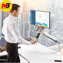 Desktop Sit Stand Workstation Long Arm Extension 1030mm Ergonomic 22-35 inch Monitor Holder with Keyboard Tray Gas Spring