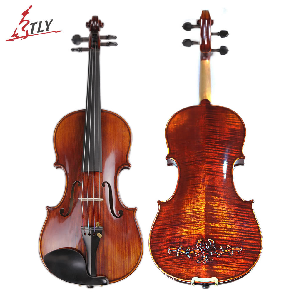 TONGLING Brand Master Hand-made Carved Maple Violin Naturally Flamed Customized Antique Violin 4/4 Violino w/ Full Accessories kinglos matt acoustic art violin ebony fittings carved flowers stuedents maple violin 4 4 violino fiddle with case bow mute