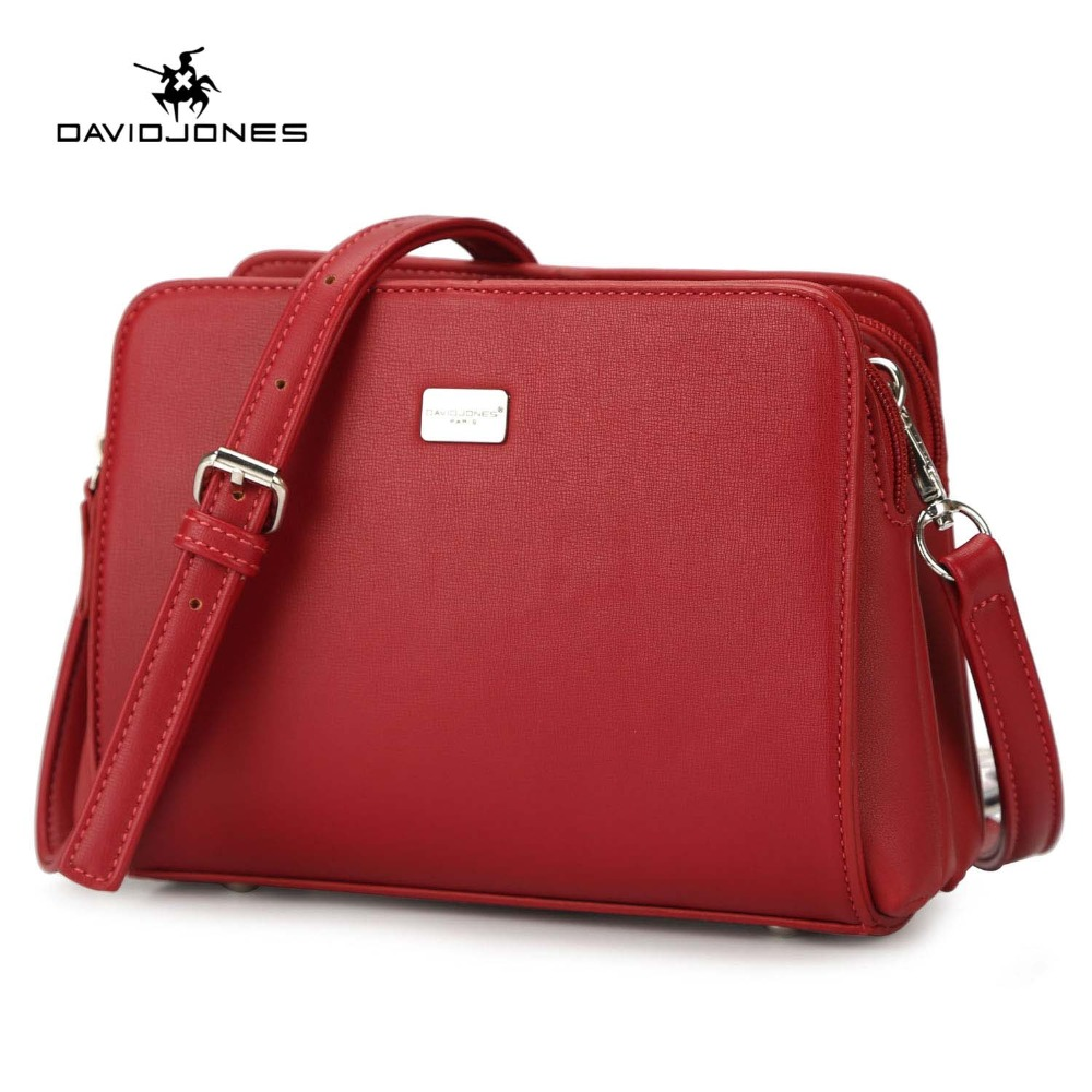 DAVIDJONES women messenger bags faux leather female crossbody bags small lady solid shoulder bag girl handbag drop shipping
