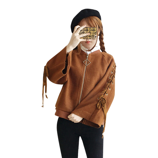 Lychee Harajuku Autumn Winter Women Jacket Lace Up Bandage Zipper Flare Sleeve Casual Lo ...