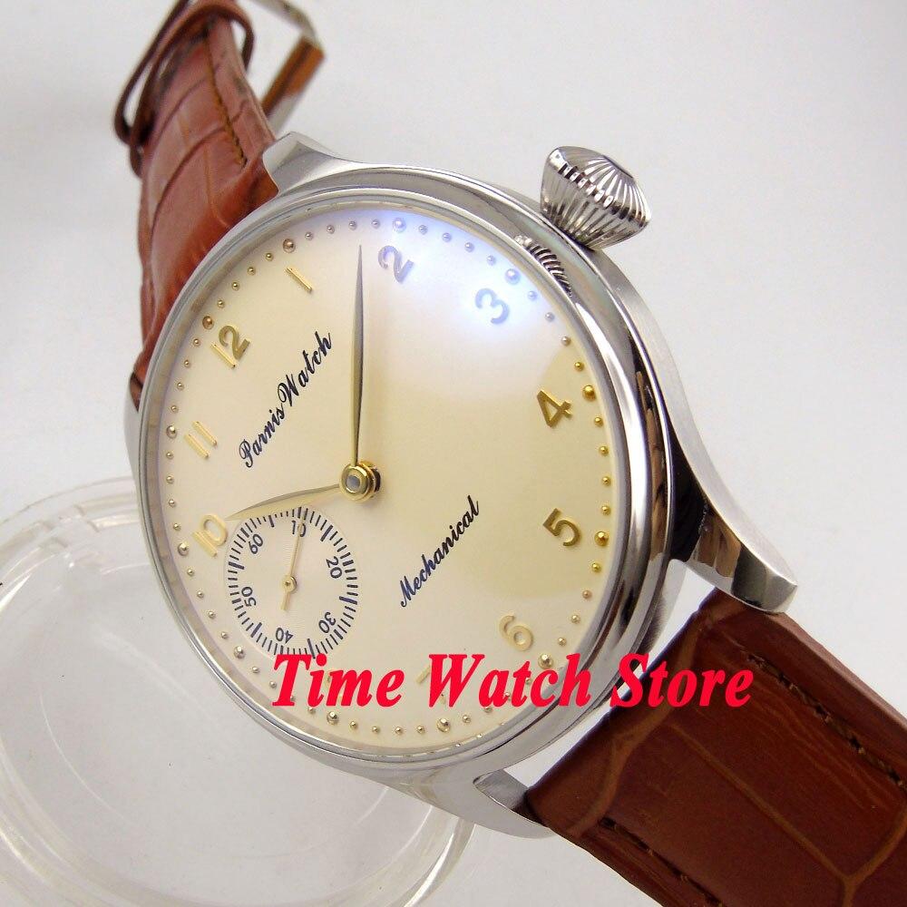 лучшая цена Parnis 44mm Beige Dial GOLD hands marks 17 jewels hand winding 6497 movement men's watch 369