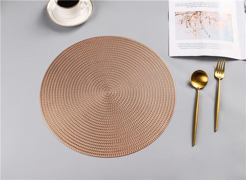 38CM Hotel Restaurant Round PVC Placemat Nordic Anti-scalding Insulation Table Mat Steak Pad (17)