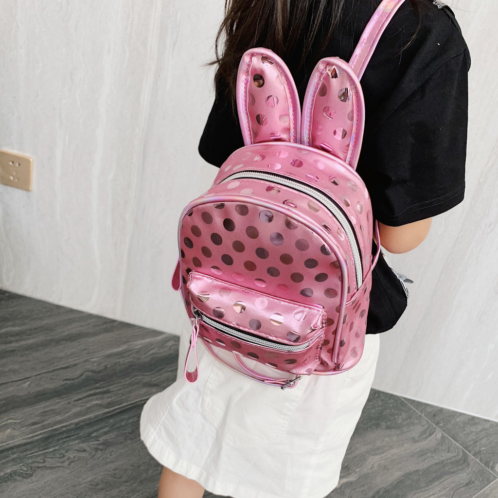 ISHOWTIENDA Backpack Rabbit Female Children Cartoon Mujer Ear-Bag Bolso Wave-Point-Package