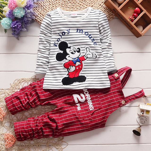 Baby Girls Boys Clothes Sets Newborn Bebes Kids Autumn Cartoon Mickey TShirt +Rompers Pants Children Toddler Girl Clothing set