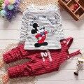 Muchachos de Los Bebés Arropa los Sistemas Recién Nacido Bebes Niños Otoño de la Historieta de Mickey Camiseta + Pantalones de Los Mamelucos Niños Niño de La Muchacha Que Arropan el sistema