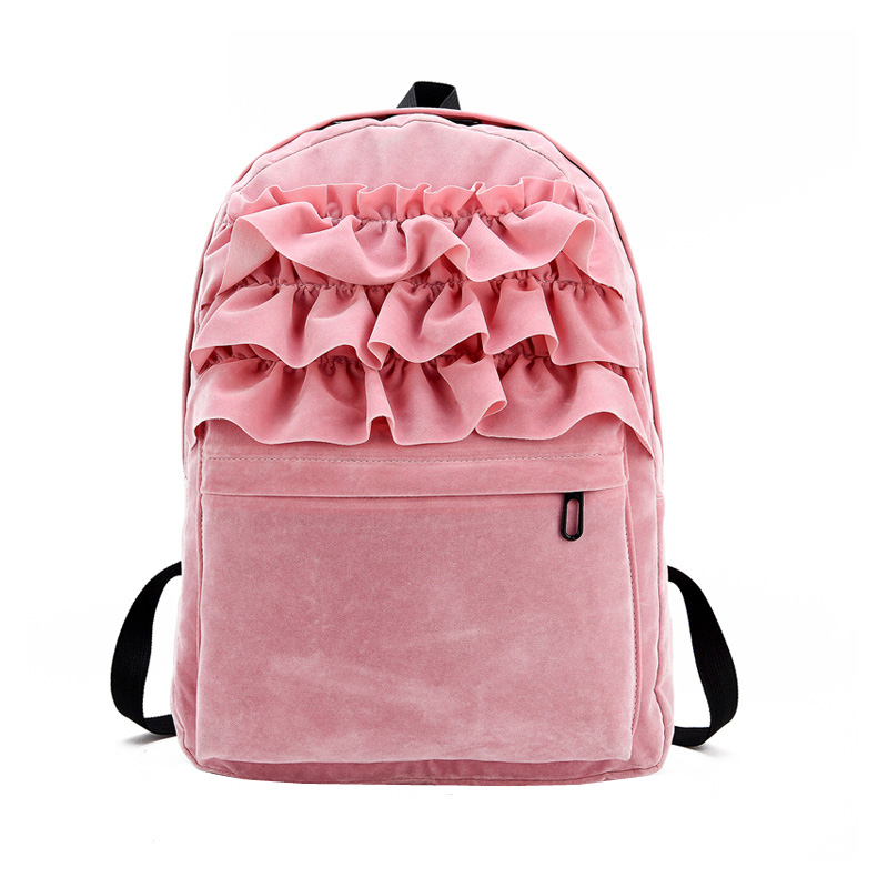 2017 New Lolita Flouncing Lace Backpack Students Solid Velvet Backpack Book Bag School Bags ForTeenager Girls Travel BS8