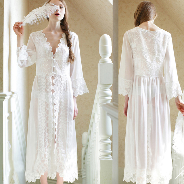 f94f2cae5f5a 2019 Long women silk night gown French court white lace transparent sleeping  princess dress bride pajamas maternity nightgown