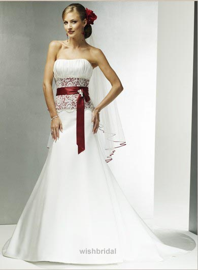 Cheap Red Corset Wedding Dress White Wedding Dresses with Red ...