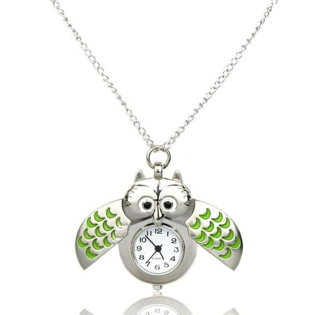 Genvivia pocket watch Women Fashion Watches Mini Metal Owl Double Open Quartz Wa