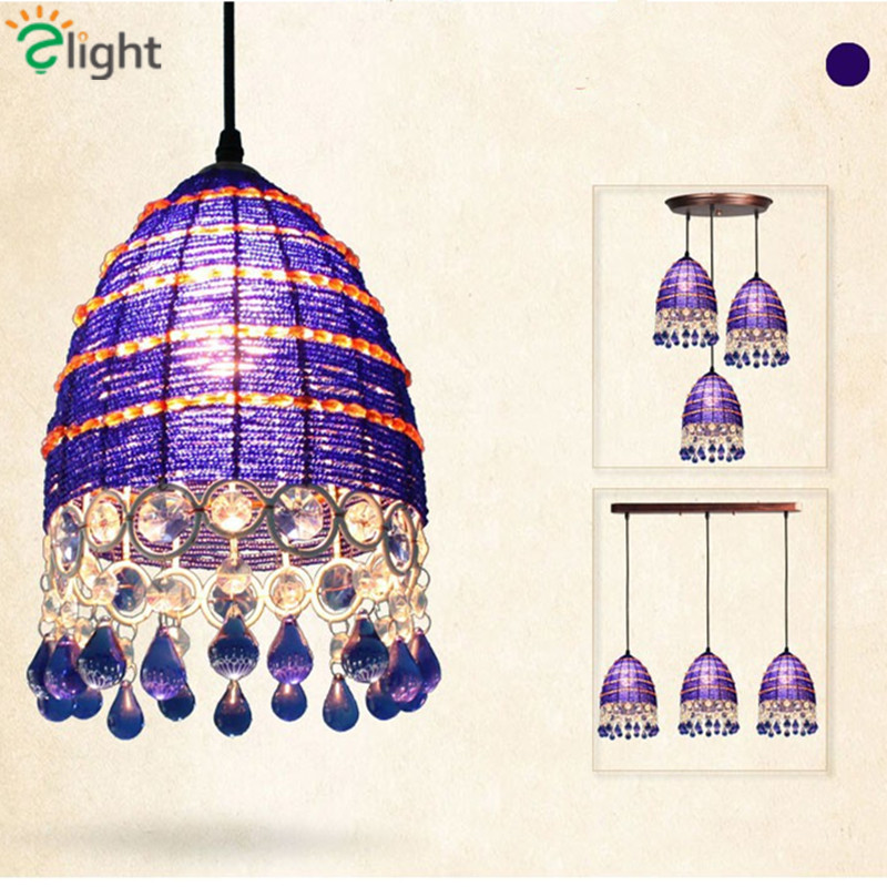 Bohemia Rural Metal Led Pendant Chandeliers Lustre Crystal Dining Room Led Chandelier Lighting Simple Led Hanging Lights Fixture modern lustre crystal led chandelier lighting chrome metal living room led pendant chandeliers light led hanging lights fixtures