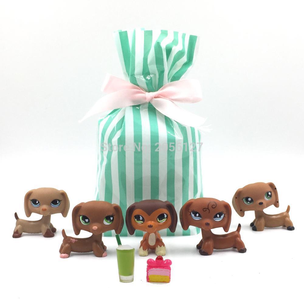 5 Pcs/bag Real pet shop toys dog model rare animal dachshund for kids with gift bag 518-556-675-640-mono-PJZ13 rare pet shop toys dachshund cute brown sausage dog snowflake eyes old real kids toys christmas present