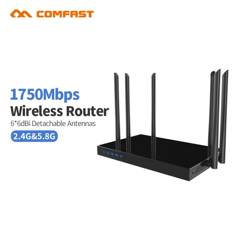 Prix pour Comfast CF-WR650AC 1750 Mbps Dual Band 5.8 + 2.4G WIFI Routeur Répéteur roteador Wi-Fi 802.11ac Routeur 6 PA + 6 WIFI Antenne ddwrt open