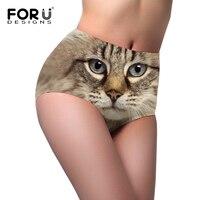 FORUDESIGNS Women Sexy Panties 3d Cat Owl Dog Pattern High Waist Underwear Briefs For Ladies Female