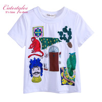 New Style White Boys T-shirt Kids Short Tops Character Monkey Prints Summer Little Boy Child Loose Clothing BT90312-3L